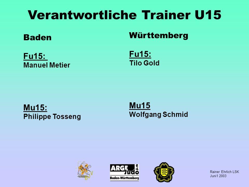 Rainer Ehrlich LSK Juni1 2003 Verantwortliche Trainer U15 Baden Fu15: Manuel Metier Mu15: Philippe Tosseng Württemberg Fu15: Tilo Gold Mu15 Wolfgang S