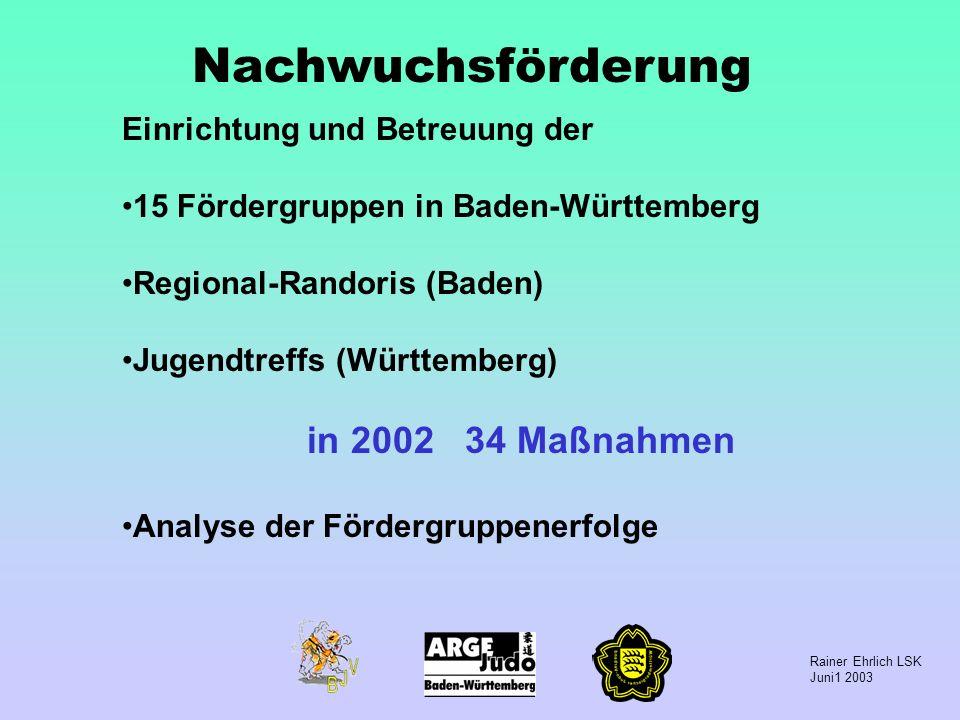 Rainer Ehrlich LSK Juni1 2003 Nachwuchsförderung Einrichtung und Betreuung der 15 Fördergruppen in Baden-Württemberg Regional-Randoris (Baden) Jugendt
