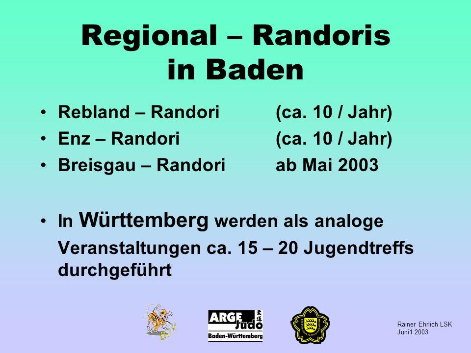Rainer Ehrlich LSK Juni1 2003 Regional – Randoris in Baden Rebland – Randori(ca. 10 / Jahr) Enz – Randori(ca. 10 / Jahr) Breisgau – Randoriab Mai 2003