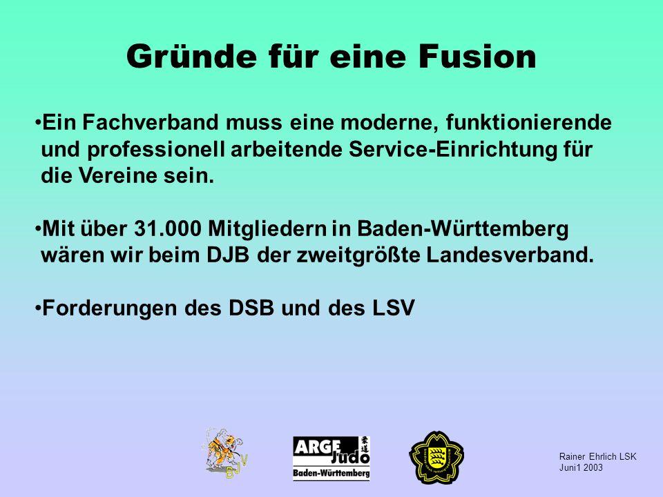 Rainer Ehrlich LSK Juni1 2003 Gründe für eine Fusion Ein Fachverband muss eine moderne, funktionierende und professionell arbeitende Service-Einrichtu
