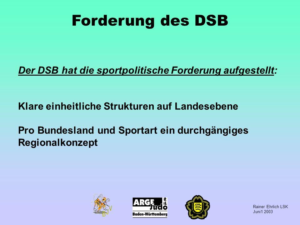 Rainer Ehrlich LSK Juni1 2003 Forderung des DSB Der DSB hat die sportpolitische Forderung aufgestellt: Klare einheitliche Strukturen auf Landesebene P