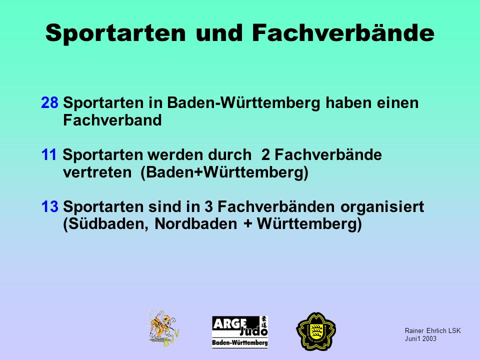 Rainer Ehrlich LSK Juni1 2003 Sportarten und Fachverbände 28 Sportarten in Baden-Württemberg haben einen Fachverband 11 Sportarten werden durch 2 Fach