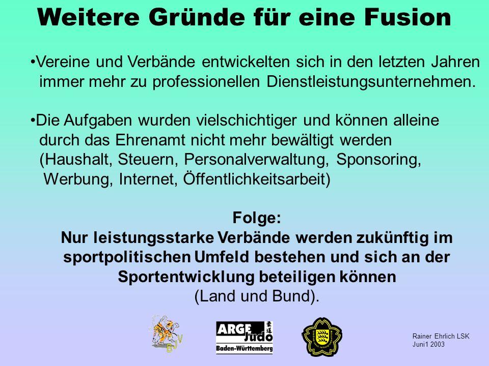 Rainer Ehrlich LSK Juni1 2003 Weitere Gründe für eine Fusion Vereine und Verbände entwickelten sich in den letzten Jahren immer mehr zu professionelle