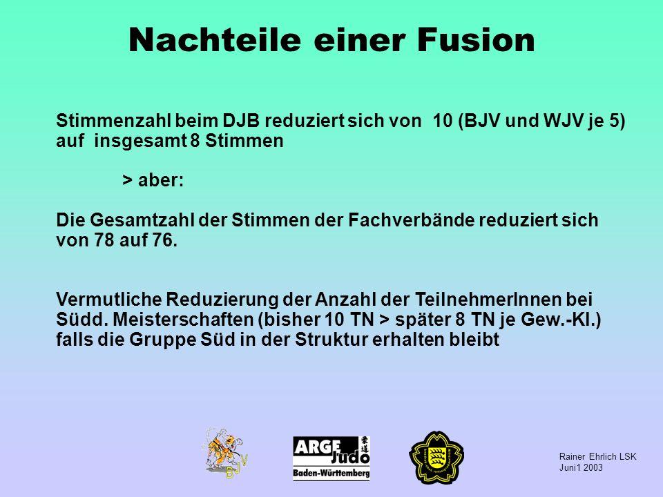 Rainer Ehrlich LSK Juni1 2003 Nachteile einer Fusion Stimmenzahl beim DJB reduziert sich von 10 (BJV und WJV je 5) auf insgesamt 8 Stimmen > aber: Die