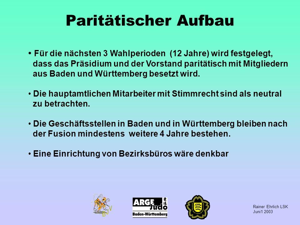 Rainer Ehrlich LSK Juni1 2003 Paritätischer Aufbau Für die nächsten 3 Wahlperioden (12 Jahre) wird festgelegt, dass das Präsidium und der Vorstand par