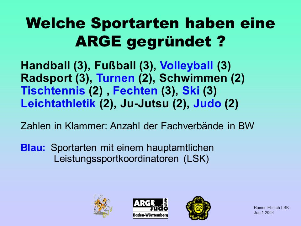 Rainer Ehrlich LSK Juni1 2003 Welche Sportarten haben eine ARGE gegründet ? Handball (3), Fußball (3), Volleyball (3) Radsport (3), Turnen (2), Schwim