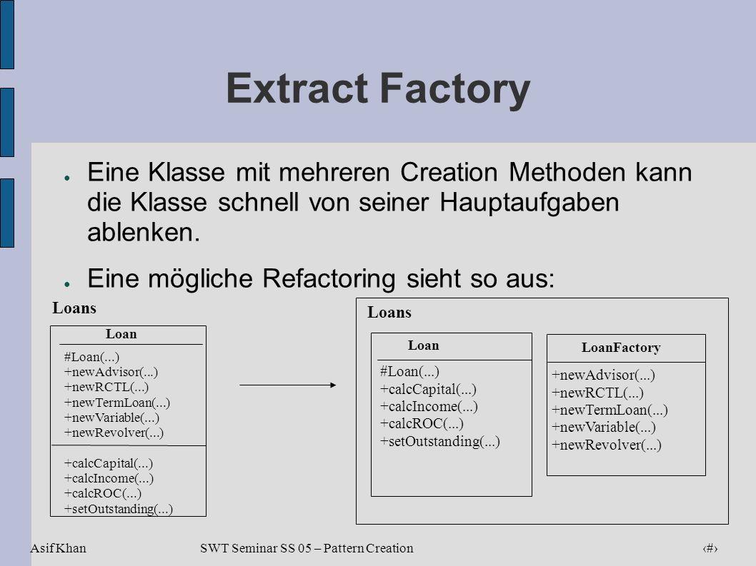 Asif Khan 15 SWT Seminar SS 05 – Pattern Creation Extract Factory Eine Klasse mit mehreren Creation Methoden kann die Klasse schnell von seiner Haupta