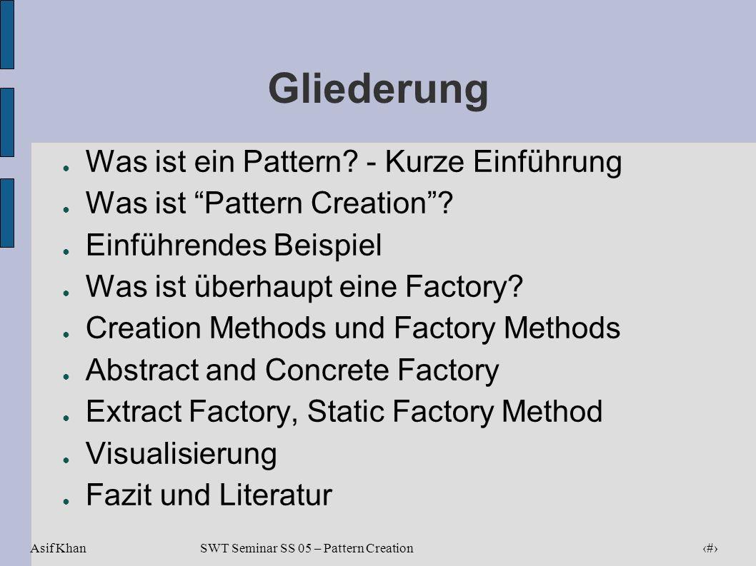 Asif Khan 2 SWT Seminar SS 05 – Pattern Creation Gliederung Was ist ein Pattern? - Kurze Einführung Was ist Pattern Creation? Einführendes Beispiel Wa