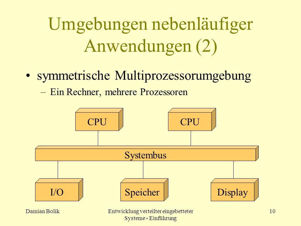 Damian BolikEntwicklung verteilter eingebetteter Systeme - Einführung 10 Umgebungen nebenläufiger Anwendungen (2) symmetrische Multiprozessorumgebung