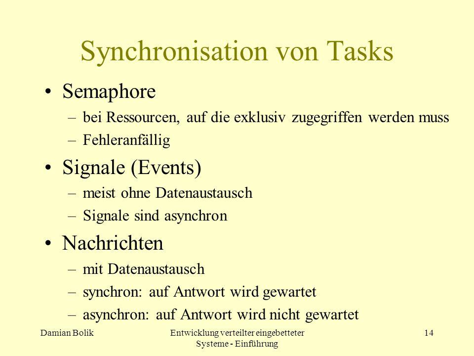 Damian BolikEntwicklung verteilter eingebetteter Systeme - Einführung 14 Synchronisation von Tasks Semaphore –bei Ressourcen, auf die exklusiv zugegri