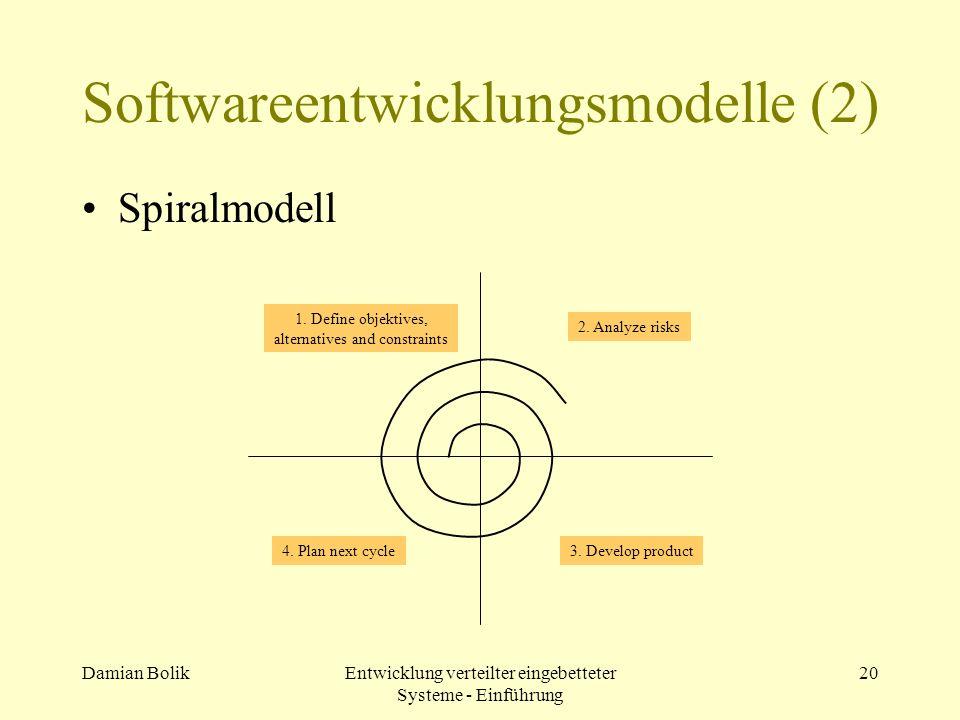 Damian BolikEntwicklung verteilter eingebetteter Systeme - Einführung 20 Softwareentwicklungsmodelle (2) Spiralmodell 1. Define objektives, alternativ
