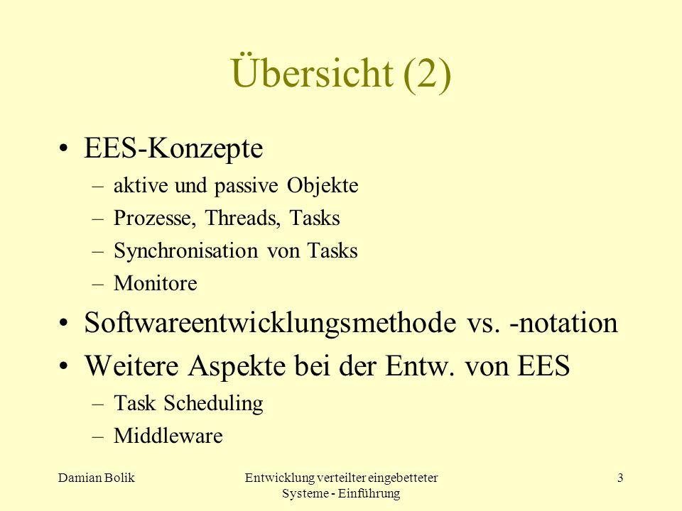 Damian BolikEntwicklung verteilter eingebetteter Systeme - Einführung 3 Übersicht (2) EES-Konzepte –aktive und passive Objekte –Prozesse, Threads, Tas
