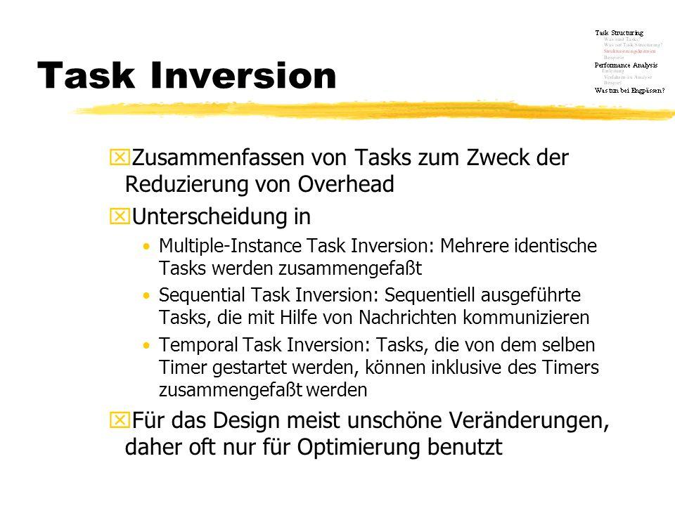 Task Inversion xZusammenfassen von Tasks zum Zweck der Reduzierung von Overhead xUnterscheidung in Multiple-Instance Task Inversion: Mehrere identisch