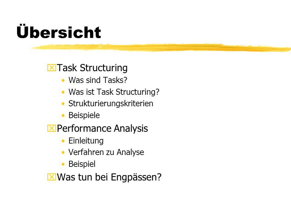 Übersicht xTask Structuring Was sind Tasks? Was ist Task Structuring? Strukturierungskriterien Beispiele xPerformance Analysis Einleitung Verfahren zu