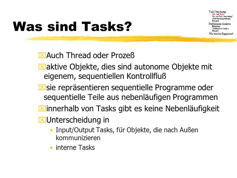 Was sind Tasks? xAuch Thread oder Prozeß xaktive Objekte, dies sind autonome Objekte mit eigenem, sequentiellen Kontrollfluß xsie repräsentieren seque