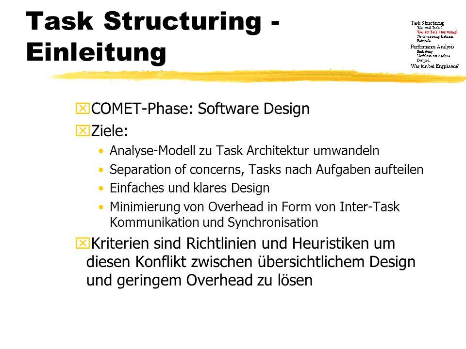 Task Structuring - Einleitung 2 yDie Strukturierung ist eingeteilt in zwei Phasen: xPhase 1: Jedes aktive Objekt erhält einen Task I/O task structuring criteria Internal task structuring criteria Task priority criteria xPhase 2: Zusammenfassen der Tasks aus Phase 1 Task clustering criteria Task inversion criteria