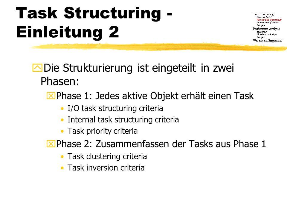 Task Structuring Phase 1 xJedem aktiven Objekt wird genau ein Candidate Task zugeordnet, also vorläufige Tasks, die später noch verändert werden xDadurch können die Aufgaben jedes einzelnen Tasks schnell ersehen werden xTasks werden Prioritäten zugeordnet Zeitkritische Tasks werden identifiziert und erhalten höhere Prioritäten oder Tasks mit kürzerer Periode erhalten eine höhere Priorität als Tasks mit längerer Periode xwichtig für die Performance Analyse