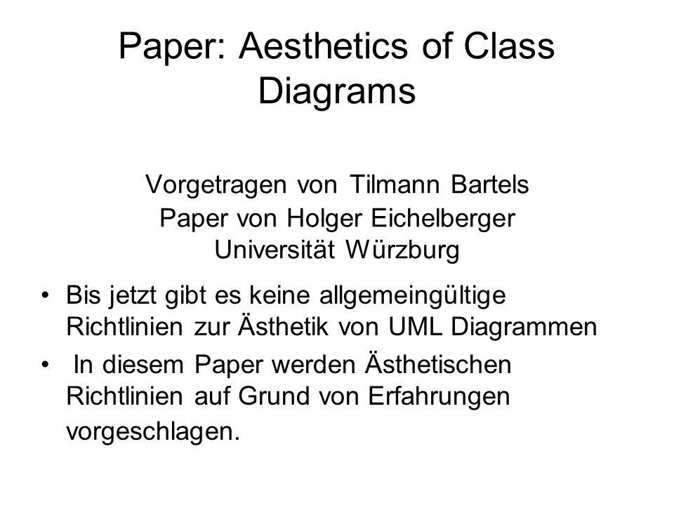 Paper: Aesthetics of Class Diagrams Vorgetragen von Tilmann Bartels Paper von Holger Eichelberger Universität Würzburg Bis jetzt gibt es keine allgemeingültige Richtlinien zur Ästhetik von UML Diagrammen In diesem Paper werden Ästhetischen Richtlinien auf Grund von Erfahrungen vorgeschlagen.
