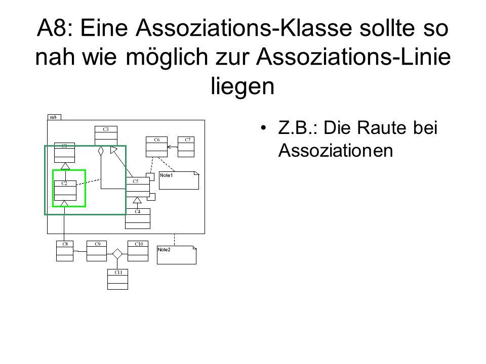 A8: Eine Assoziations-Klasse sollte so nah wie möglich zur Assoziations-Linie liegen Z.B.: Die Raute bei Assoziationen