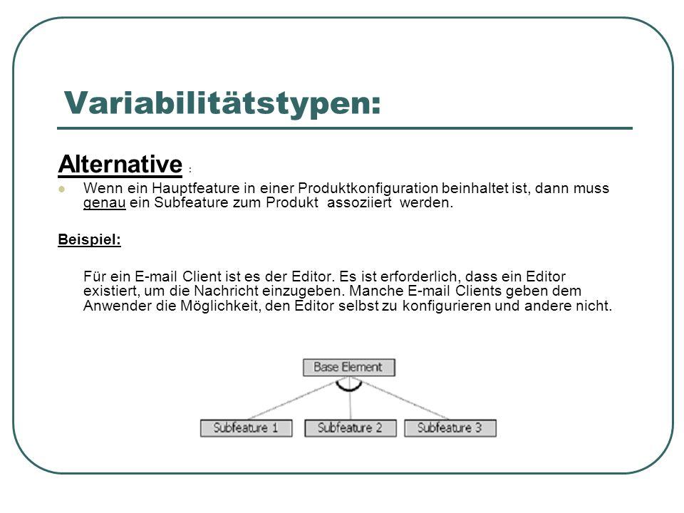 Variabilitätstypen: Alternative : Wenn ein Hauptfeature in einer Produktkonfiguration beinhaltet ist, dann muss genau ein Subfeature zum Produkt assoziiert werden.