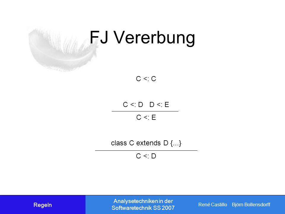 René Castillo Björn Bollensdorff Analysetechniken in der Softwaretechnik SS 2007 FJ Vererbung C <: C C <: D D <: E C <: E class C extends D {...} C <: D Regeln