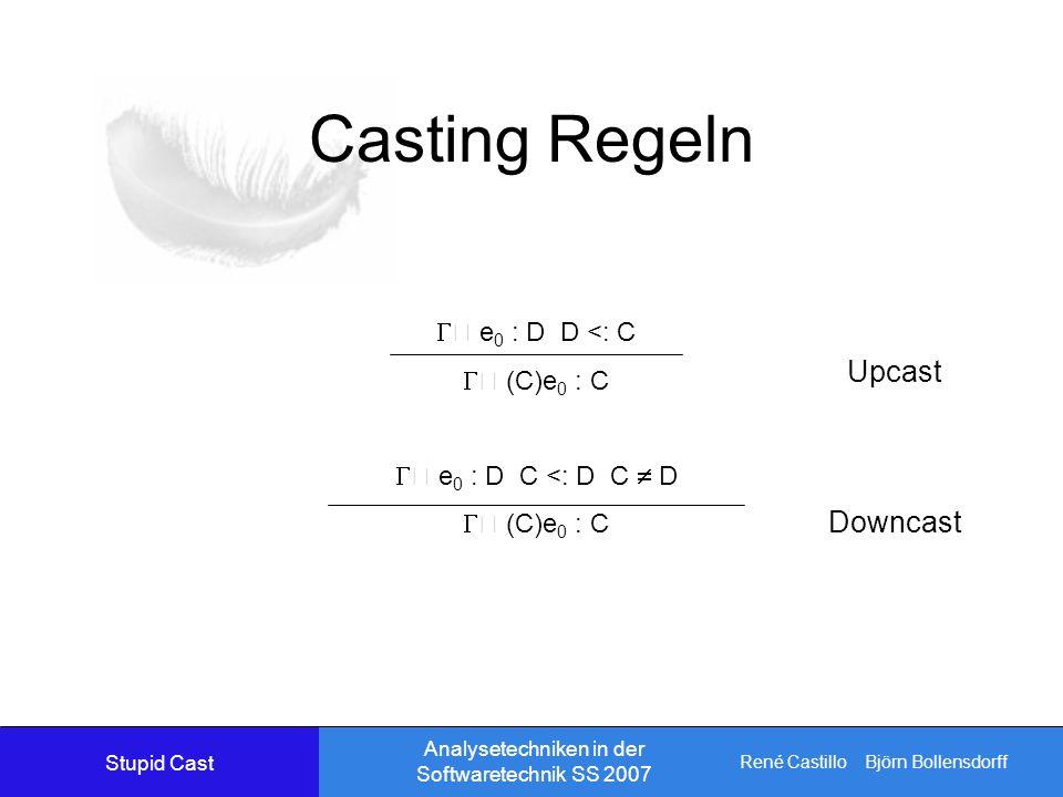 René Castillo Björn Bollensdorff Analysetechniken in der Softwaretechnik SS 2007 Casting Regeln e 0 : D D <: C (C)e 0 : C e 0 : D C <: D C D (C)e 0 : C Upcast Downcast Stupid Cast