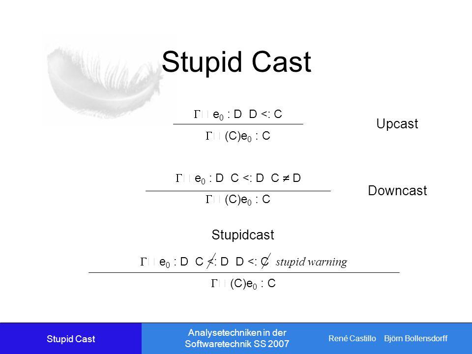 René Castillo Björn Bollensdorff Analysetechniken in der Softwaretechnik SS 2007 Stupid Cast e 0 : D D <: C (C)e 0 : C e 0 : D C <: D C D (C)e 0 : C Upcast Downcast e 0 : D C <: D D <: C stupid warning (C)e 0 : C Stupidcast Stupid Cast