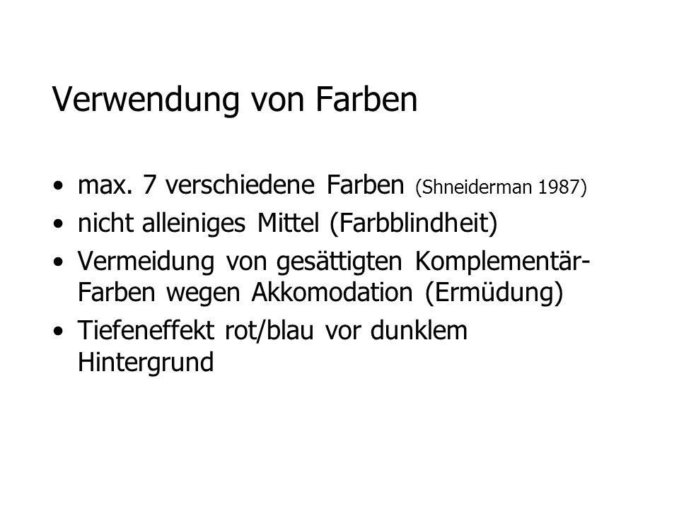 Verwendung von Farben max. 7 verschiedene Farben (Shneiderman 1987) nicht alleiniges Mittel (Farbblindheit) Vermeidung von gesättigten Komplementär- F