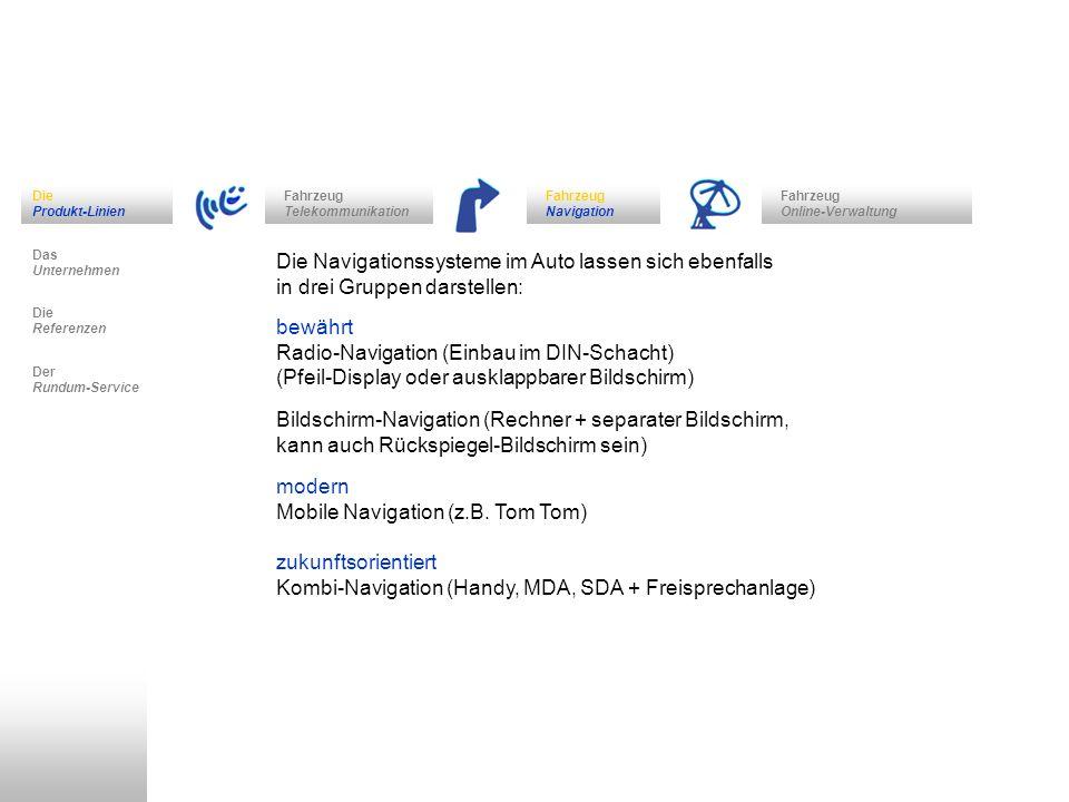 Fahrzeug Navigation Das Unternehmen Fahrzeug Telekommunikation Die Referenzen Der Rundum-Service Die Produkt-Linien Fahrzeug Online-Verwaltung Die Nav
