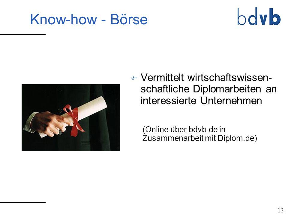 F Vermittelt wirtschaftswissen- schaftliche Diplomarbeiten an interessierte Unternehmen 13 (Online über bdvb.de in Zusammenarbeit mit Diplom.de) Know-