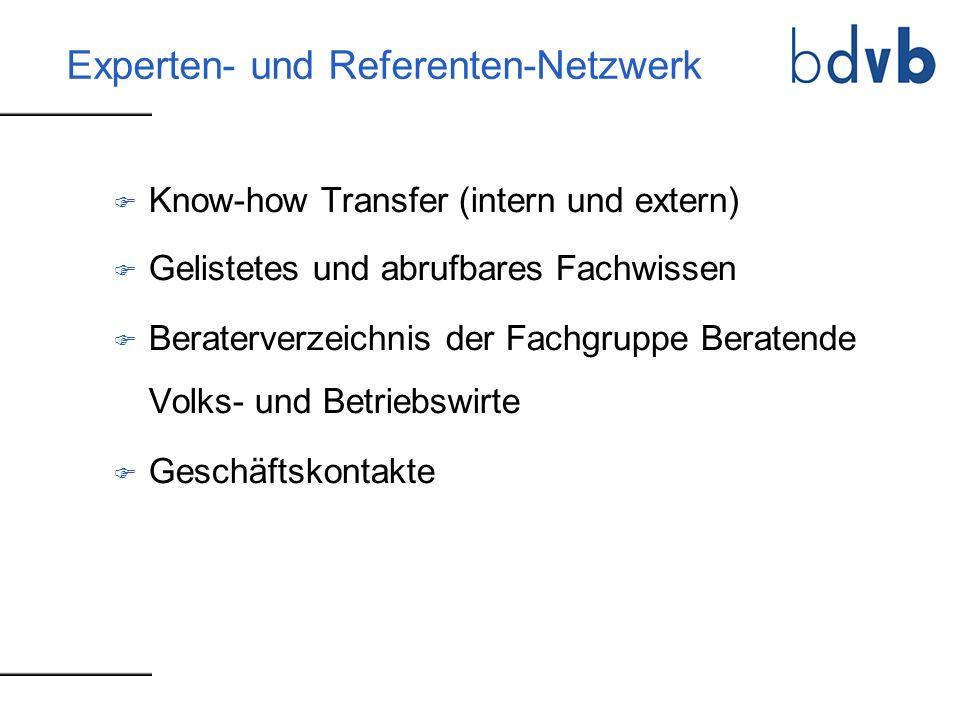 Experten- und Referenten-Netzwerk F Know-how Transfer (intern und extern) F Gelistetes und abrufbares Fachwissen F Beraterverzeichnis der Fachgruppe B