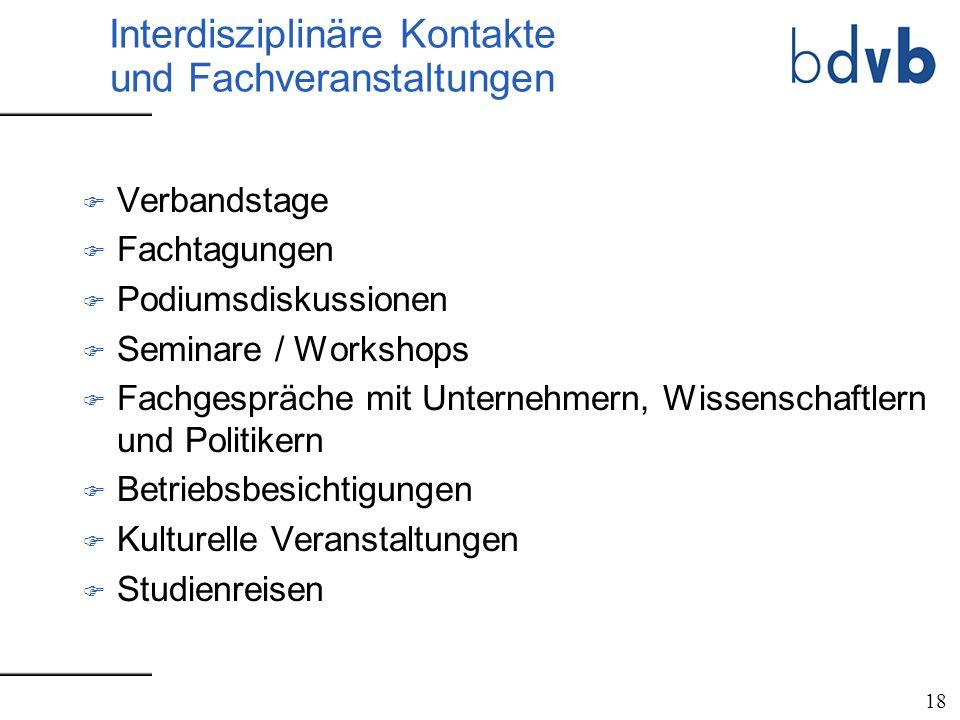 Interdisziplinäre Kontakte und Fachveranstaltungen F Verbandstage F Fachtagungen F Podiumsdiskussionen F Seminare / Workshops F Fachgespräche mit Unte