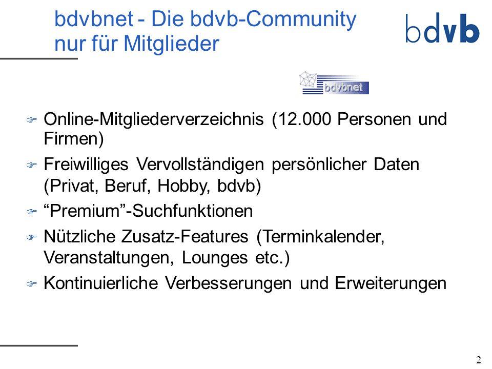 F Online-Mitgliederverzeichnis (12.000 Personen und Firmen) F Freiwilliges Vervollständigen persönlicher Daten (Privat, Beruf, Hobby, bdvb) F Premium-