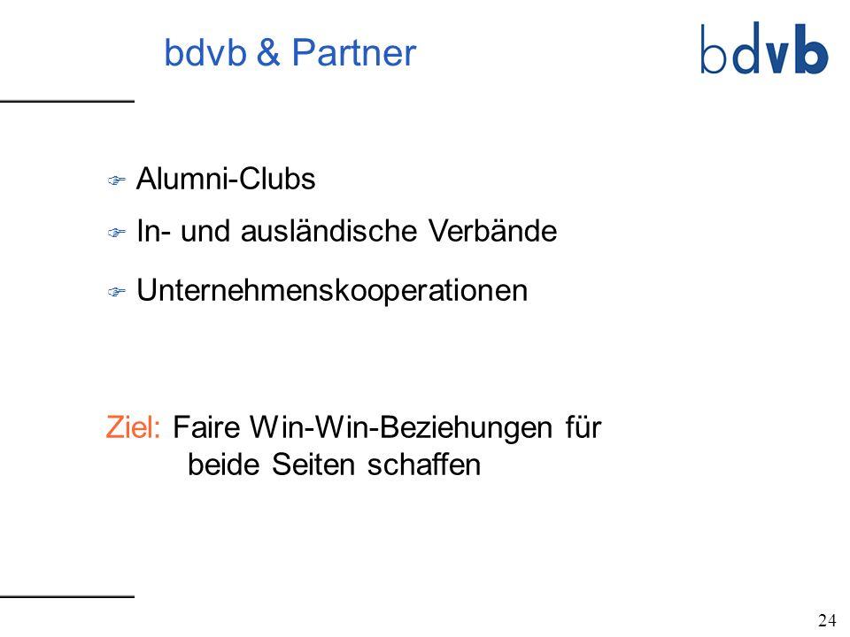 bdvb & Partner F Alumni-Clubs F In- und ausländische Verbände F Unternehmenskooperationen Ziel: Faire Win-Win-Beziehungen für beide Seiten schaffen 24
