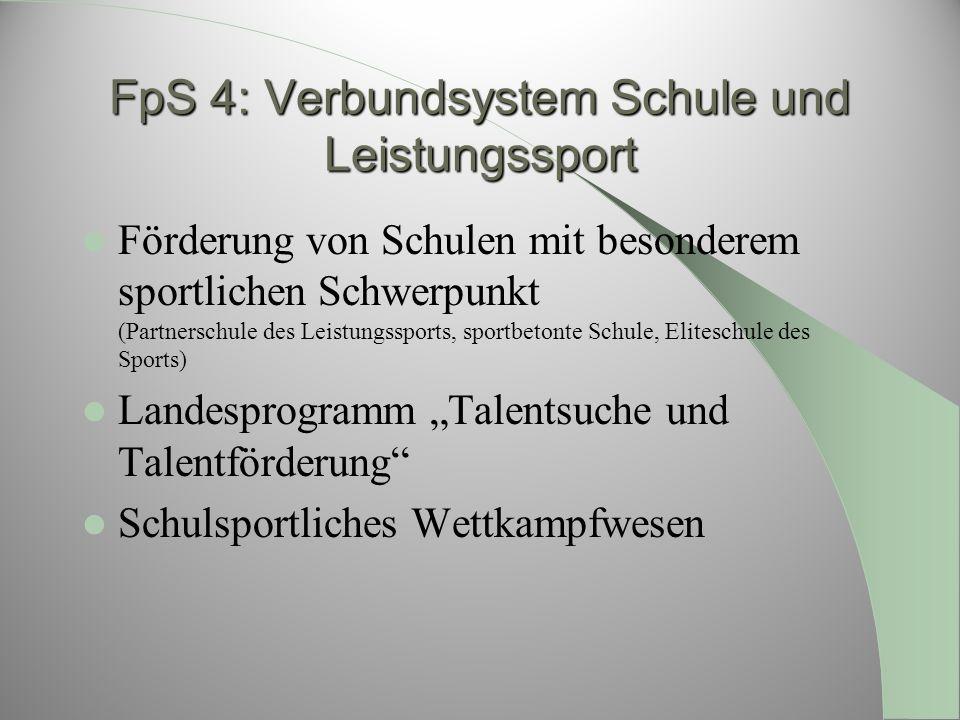 FpS 4: Verbundsystem Schule und Leistungssport Förderung von Schulen mit besonderem sportlichen Schwerpunkt (Partnerschule des Leistungssports, sportb
