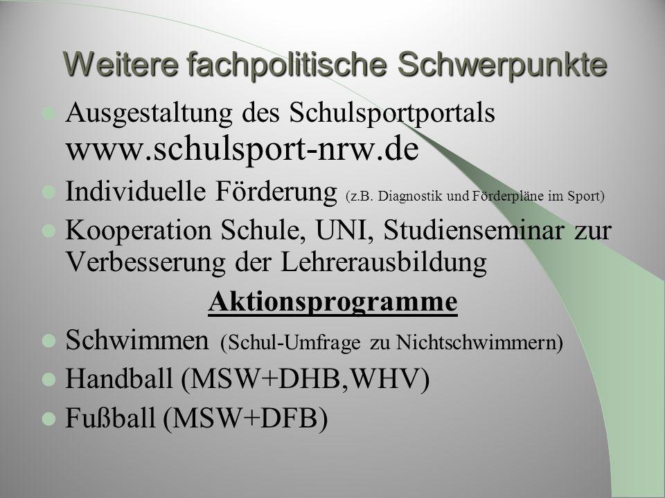 Weitere fachpolitische Schwerpunkte Ausgestaltung des Schulsportportals www.schulsport-nrw.de Individuelle Förderung (z.B. Diagnostik und Förderpläne