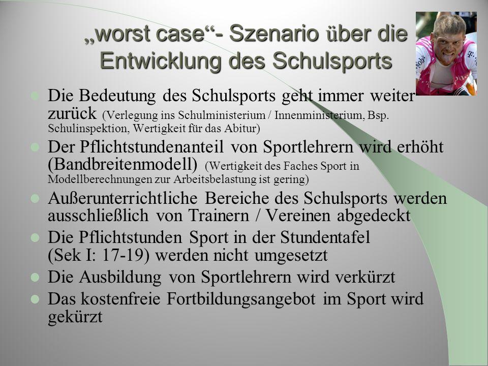 worst case - Szenario ü ber die Entwicklung des Schulsports worst case - Szenario ü ber die Entwicklung des Schulsports Die Bedeutung des Schulsports