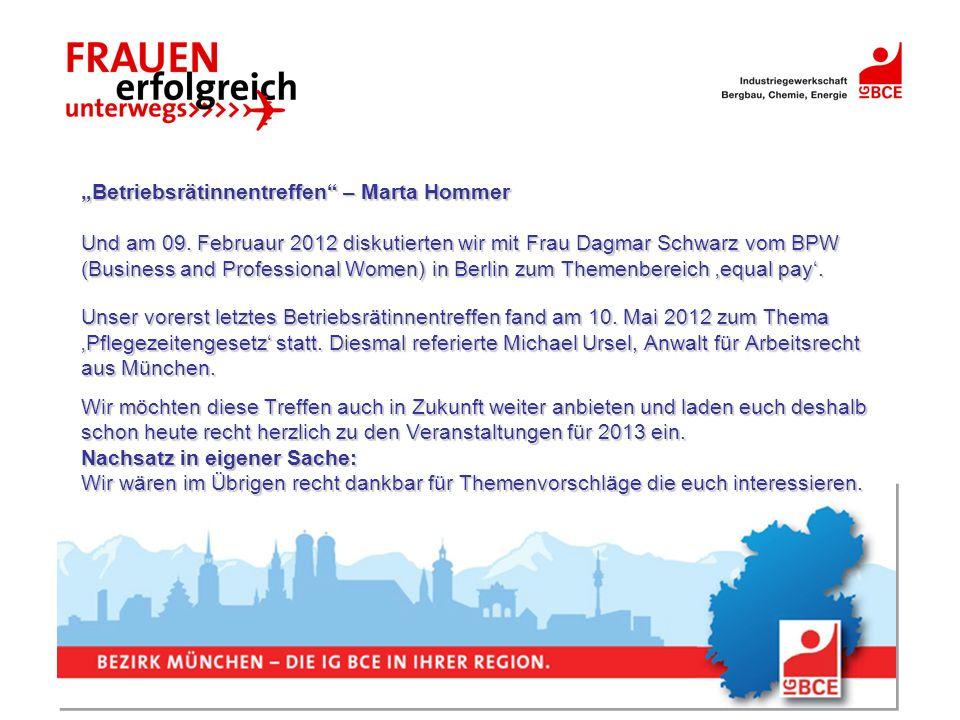 Betriebsrätinnentreffen – Marta Hommer Und am 09. Februaur 2012 diskutierten wir mit Frau Dagmar Schwarz vom BPW (Business and Professional Women) in