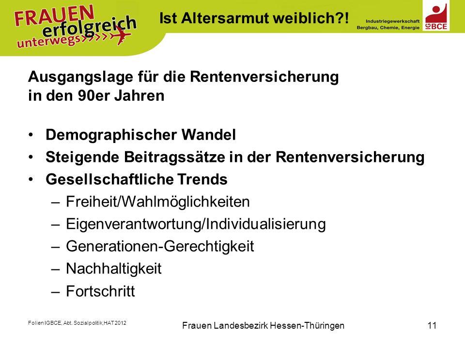 Folien IGBCE, Abt. Sozialpolitik,HAT 2012 Frauen Landesbezirk Hessen-Thüringen11 Ausgangslage für die Rentenversicherung in den 90er Jahren Demographi