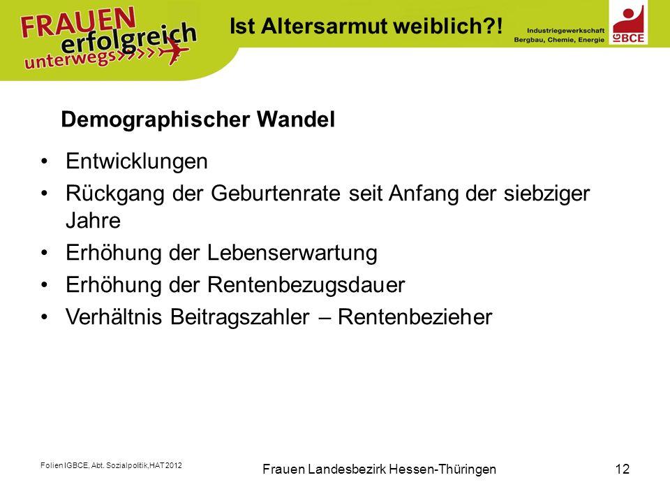 Folien IGBCE, Abt. Sozialpolitik,HAT 2012 Frauen Landesbezirk Hessen-Thüringen12 Ist Altersarmut weiblich?! Demographischer Wandel Entwicklungen Rückg