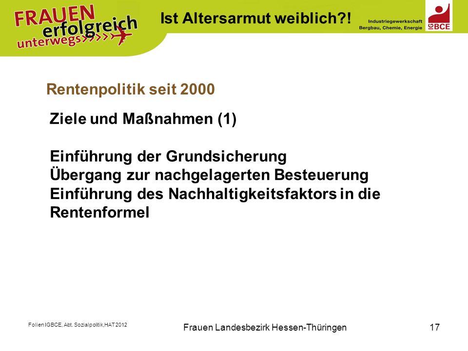 Folien IGBCE, Abt. Sozialpolitik,HAT 2012 Frauen Landesbezirk Hessen-Thüringen17 Rentenpolitik seit 2000 Ziele und Maßnahmen (1) Einführung der Grunds