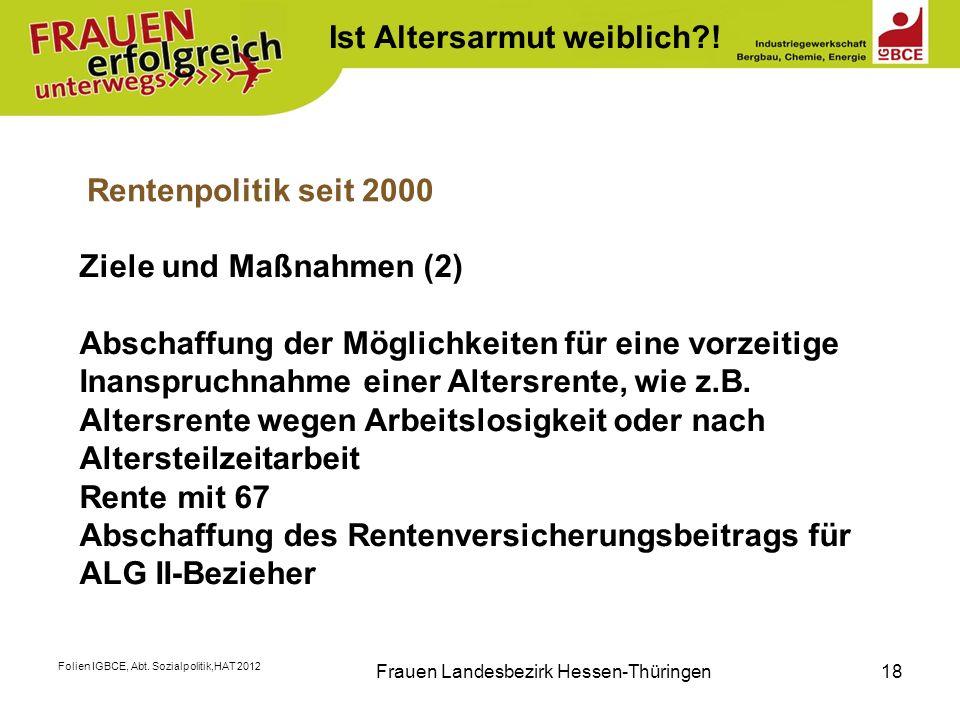 Folien IGBCE, Abt. Sozialpolitik,HAT 2012 Frauen Landesbezirk Hessen-Thüringen18 Rentenpolitik seit 2000 Ziele und Maßnahmen (2) Abschaffung der Mögli