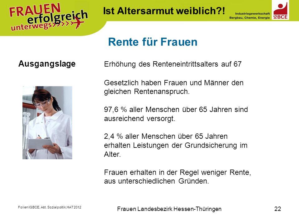 Folien IGBCE, Abt. Sozialpolitik,HAT 2012 Frauen Landesbezirk Hessen-Thüringen22 Rente für Frauen Ausgangslage Erhöhung des Renteneintrittsalters auf