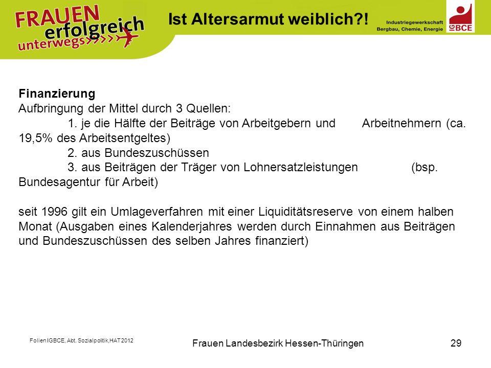 Folien IGBCE, Abt. Sozialpolitik,HAT 2012 Frauen Landesbezirk Hessen-Thüringen29 K Finanzierung Aufbringung der Mittel durch 3 Quellen: 1. je die Hälf