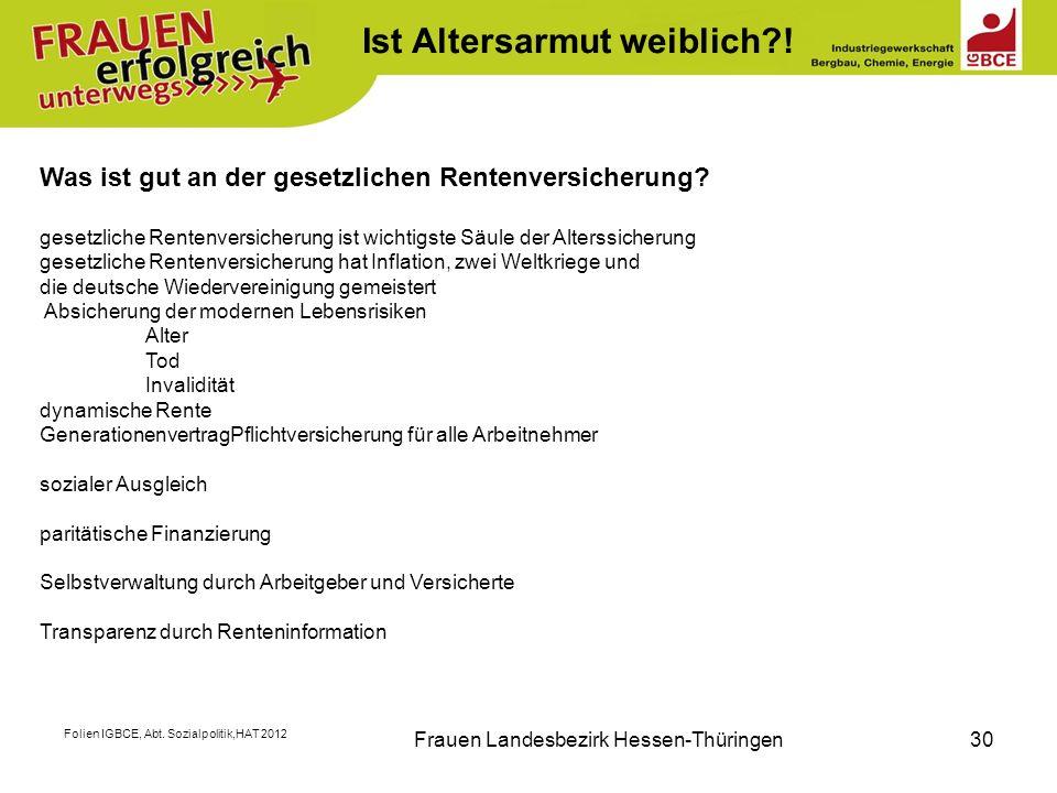 Folien IGBCE, Abt. Sozialpolitik,HAT 2012 Frauen Landesbezirk Hessen-Thüringen30 K Was ist gut an der gesetzlichen Rentenversicherung? gesetzliche Ren