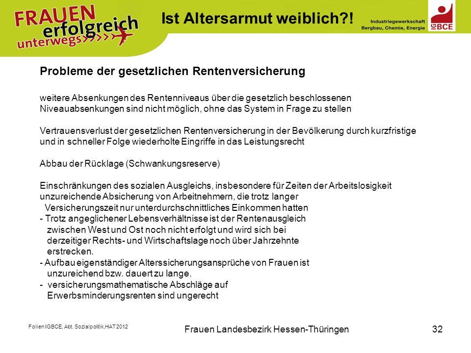 Folien IGBCE, Abt. Sozialpolitik,HAT 2012 Frauen Landesbezirk Hessen-Thüringen32 K Probleme der gesetzlichen Rentenversicherung weitere Absenkungen de