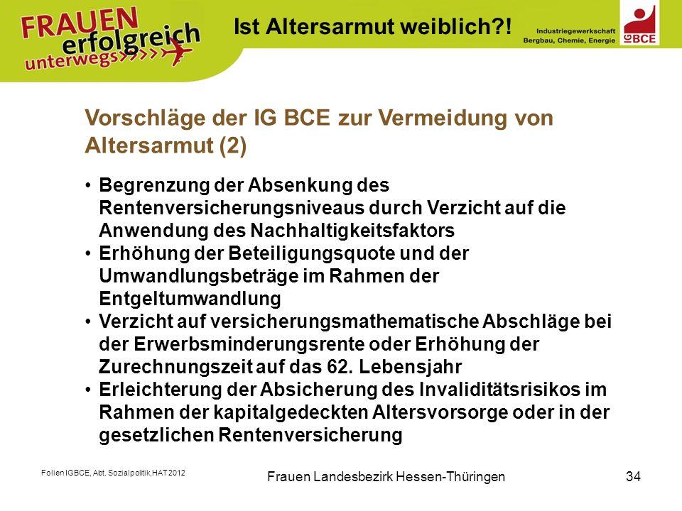 Folien IGBCE, Abt. Sozialpolitik,HAT 2012 Frauen Landesbezirk Hessen-Thüringen34 K Ist Altersarmut weiblich?! Vorschläge der IG BCE zur Vermeidung von