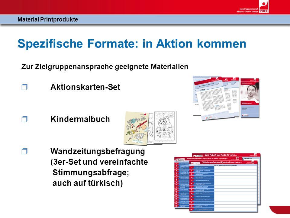 Spezifische Formate: in Aktion kommen Material Printprodukte Zur Zielgruppenansprache geeignete Materialien Aktionskarten-Set Kindermalbuch Wandzeitun