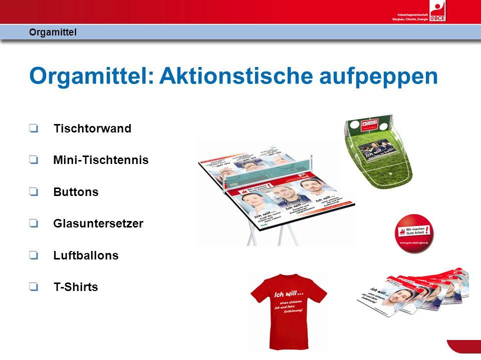 Orgamittel: Aktionstische aufpeppen Tischtorwand Mini-Tischtennis Buttons Glasuntersetzer Luftballons T-Shirts Orgamittel