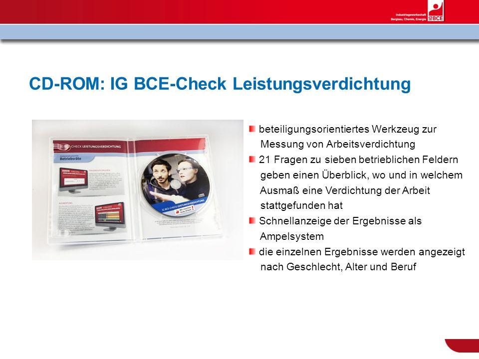 CD-ROM: IG BCE-Check Leistungsverdichtung beteiligungsorientiertes Werkzeug zur Messung von Arbeitsverdichtung 21 Fragen zu sieben betrieblichen Felde
